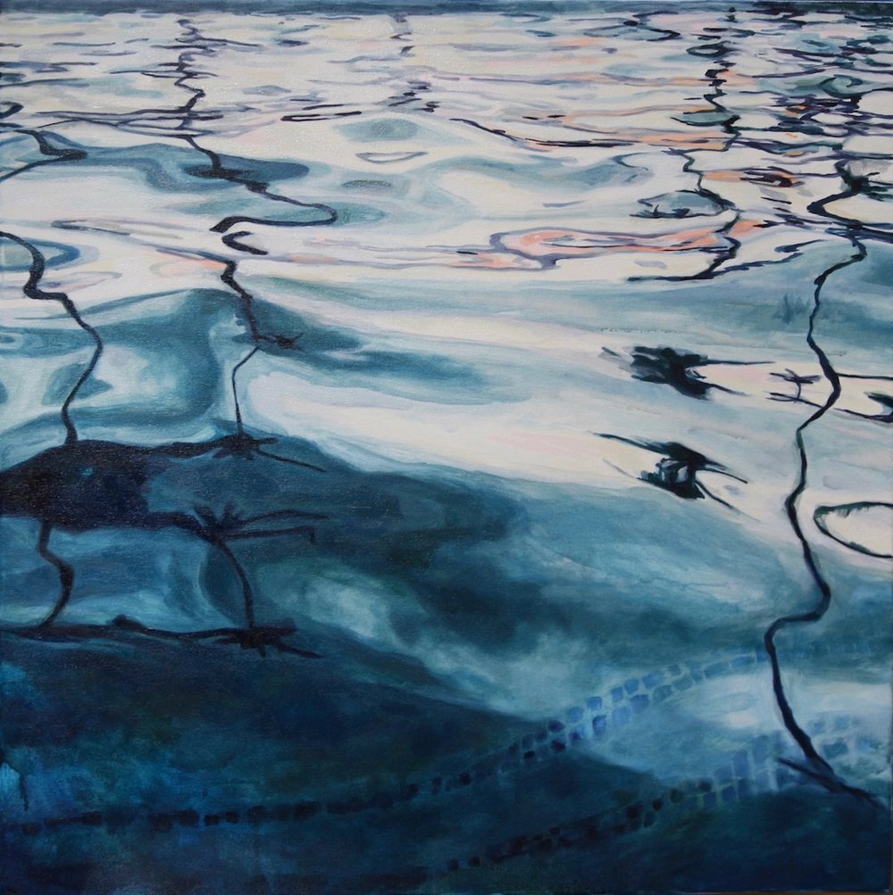 "Fluid Reflection. 2016. Water soluble oil on canvas. 30"" x 30"""