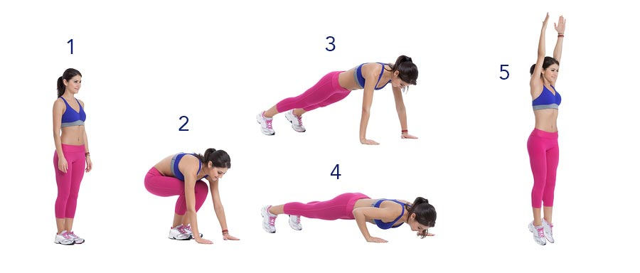 "The ""burpee"", a common warm-up exercise that includes a jump-back to plank."
