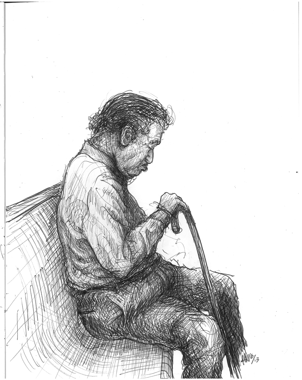 The Sleepy, (man with cane)