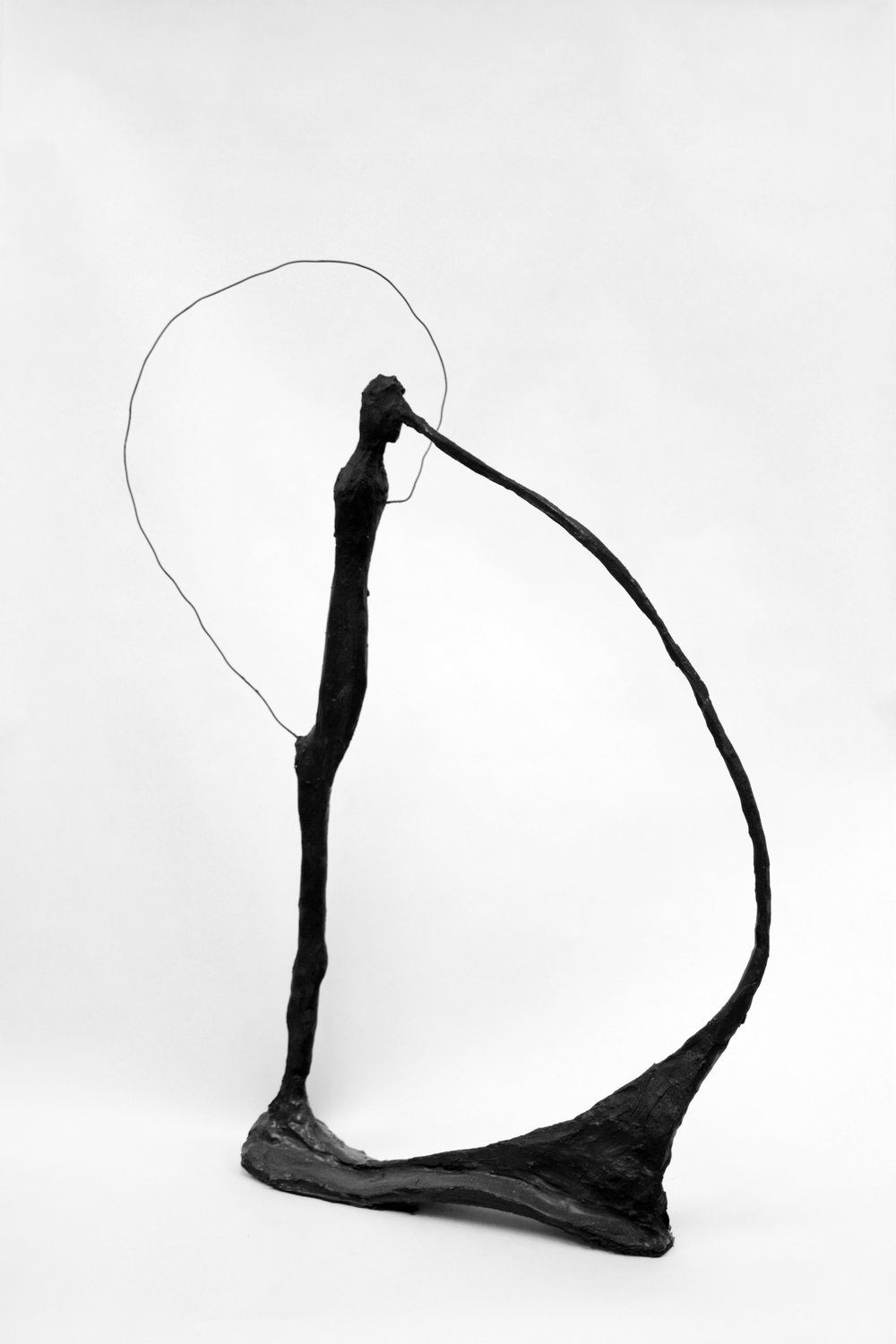 Untitled Liar   2015  Clay, resin, ash, acrylic paint, sumi ink, charcoal and wire