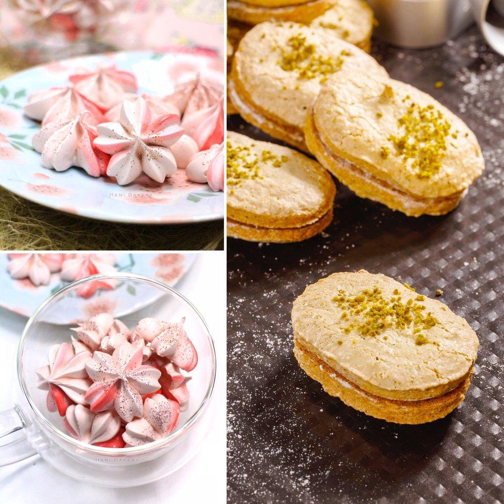 《Praline Dacquoise 榛子糖達克瓦茲 + Strawberry Meringue 草莓蛋白脆餅》  .  24/6 Sun 2:00pm  15/7 Sun 2:00pm   - 選用日本士多啤梨粉 - 蛋白霜注意事項及運用  一堂內學兩款法式甜品, 約3小時一堂 每人$490/堂, 可做6個Dacquoise及30個Meringue