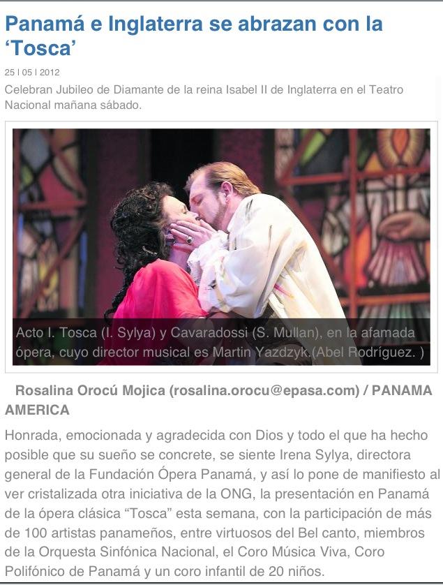 Opening night of Tosca at Panama Opera, 2012.