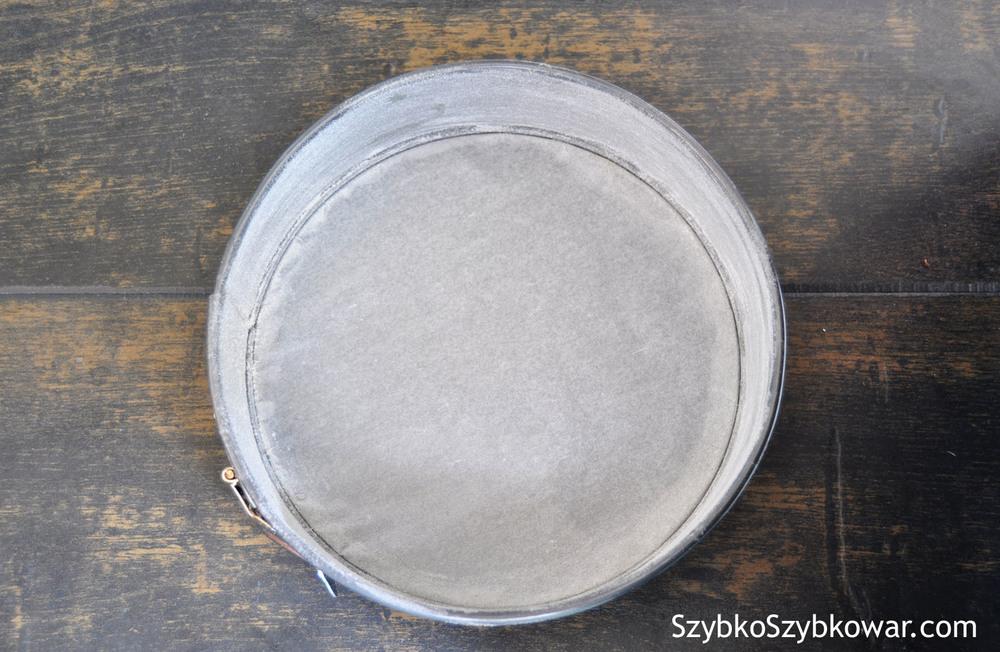 Foremka na ciasto: dno wyłóż papierem do pieczenia, boki posmaruj masłem i obsyp mąką.
