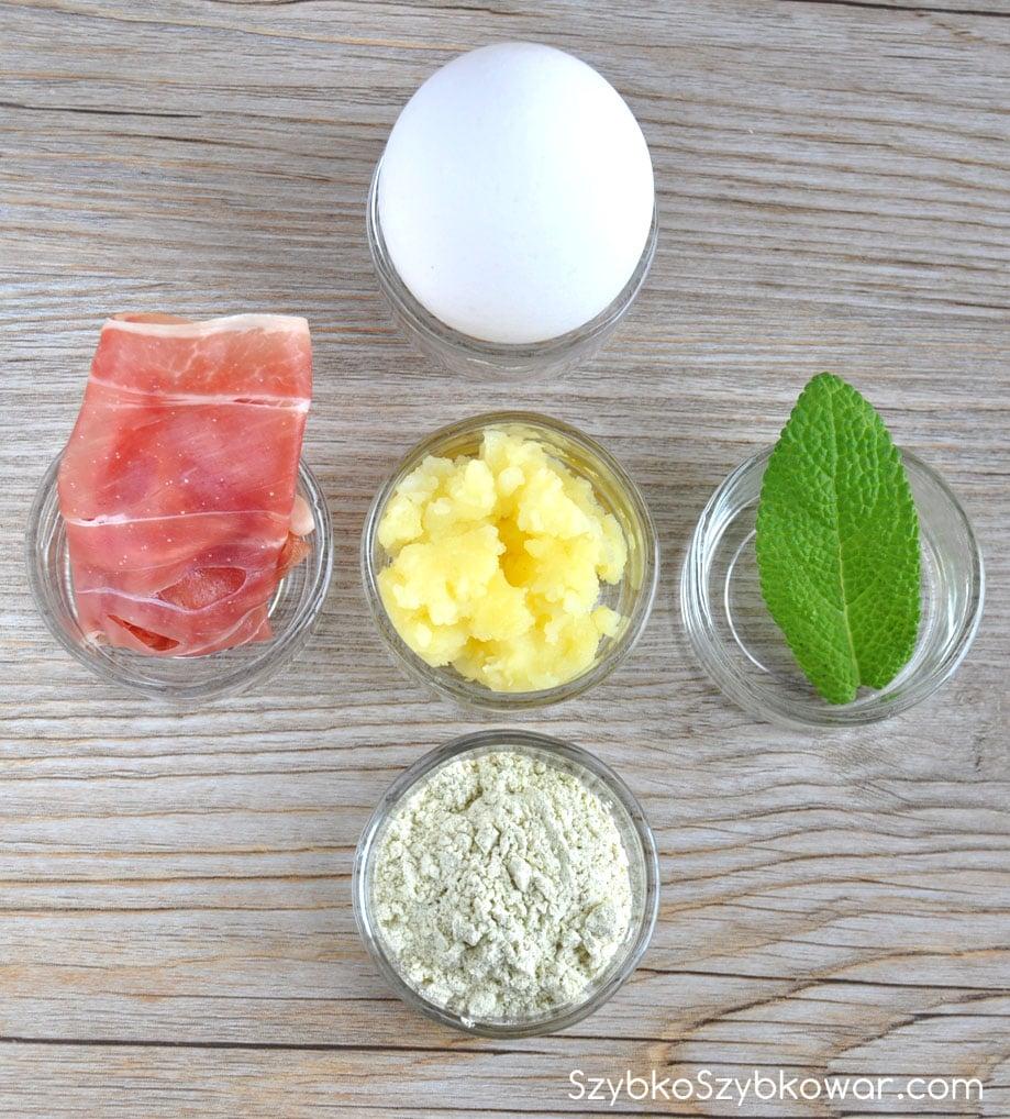 Szynka włoska Prosciutto Crudo, ziemniaki rozgniecione, szałwia, jajko i mąka z fasolki mung.