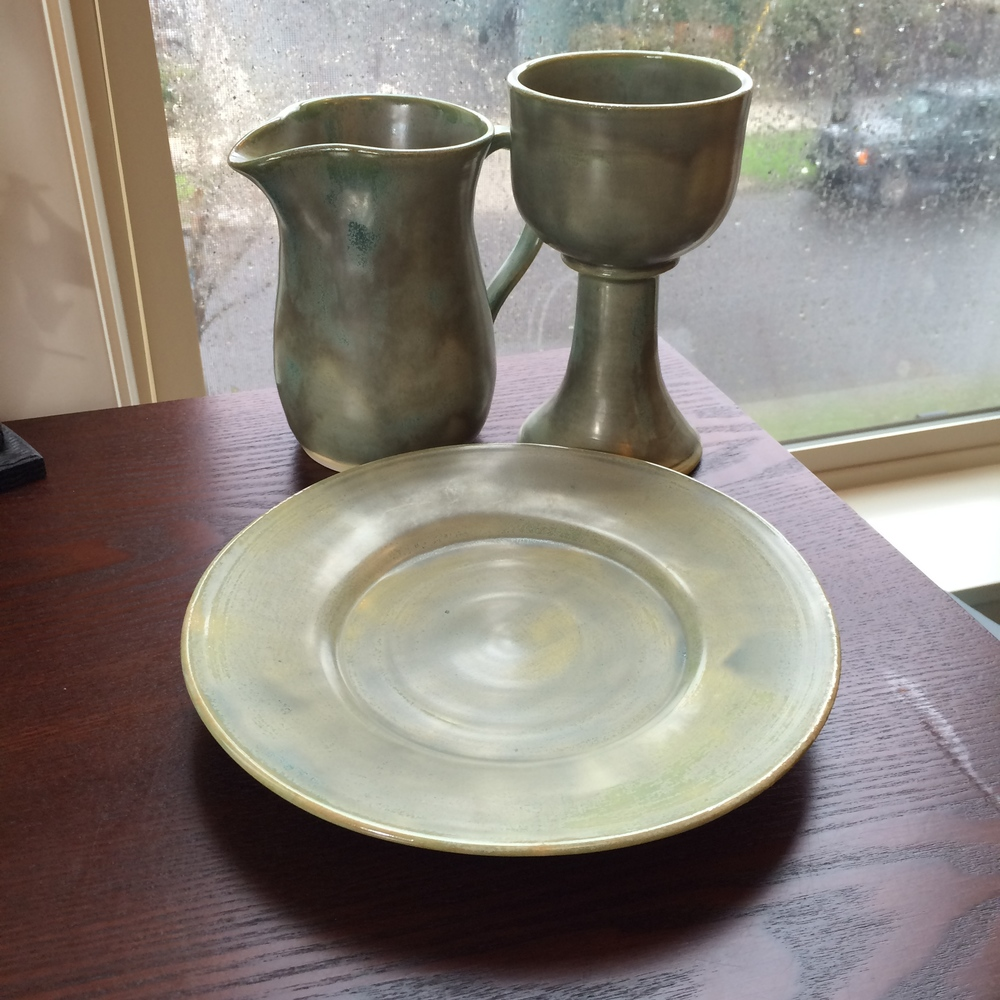 Our communion set was handcrafted in Iowa and is a gift from our partner congregation St. Johns Covenant Church