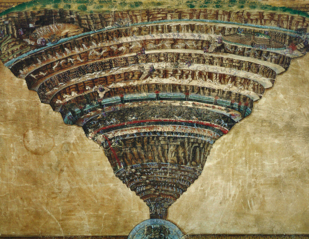 Dante wrote a book on Hell called Inferno that is not really Christian at all. This is a painting depicting the 9 rings of Dante's Inferno by Botticelli.