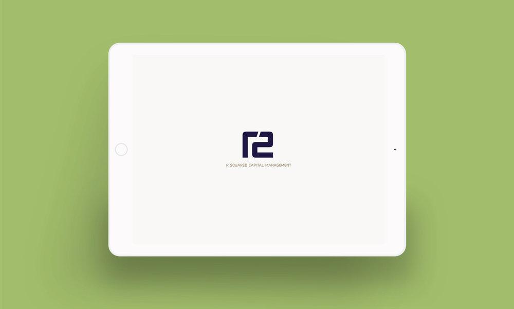 R Squared logo on iPad screen