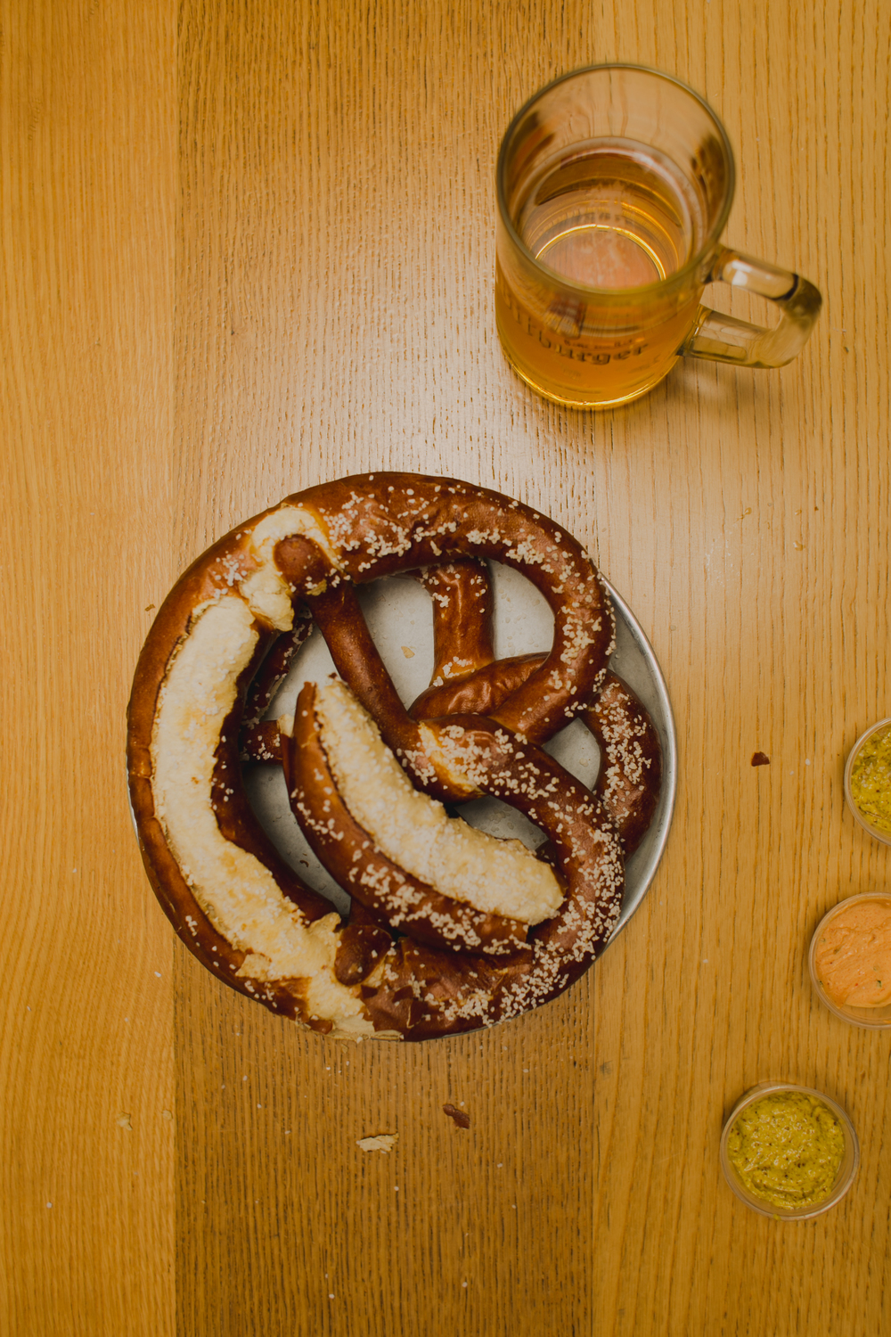 Yummmm, home made pretzels and beer!