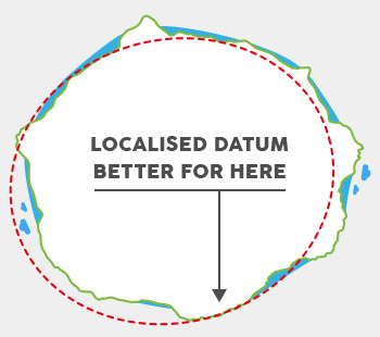 Cape Datum is an example of a Local Datum. KZN Wildlife topo maps use this Datum on all of  the Drakensberg 50k topo maps.