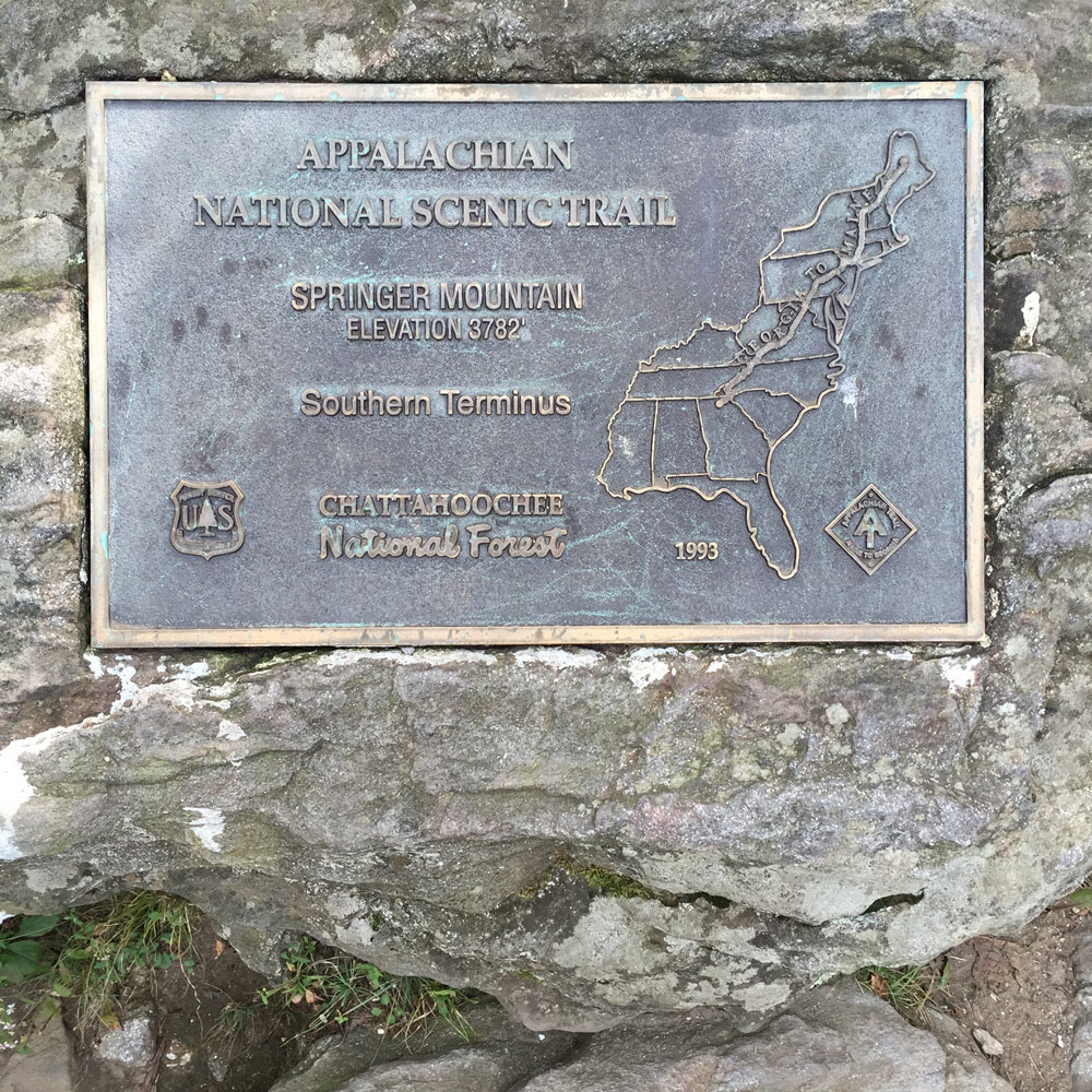 The plaque  at Springer Mountain,  showing the 14 states that are home to the Appalachian Trail