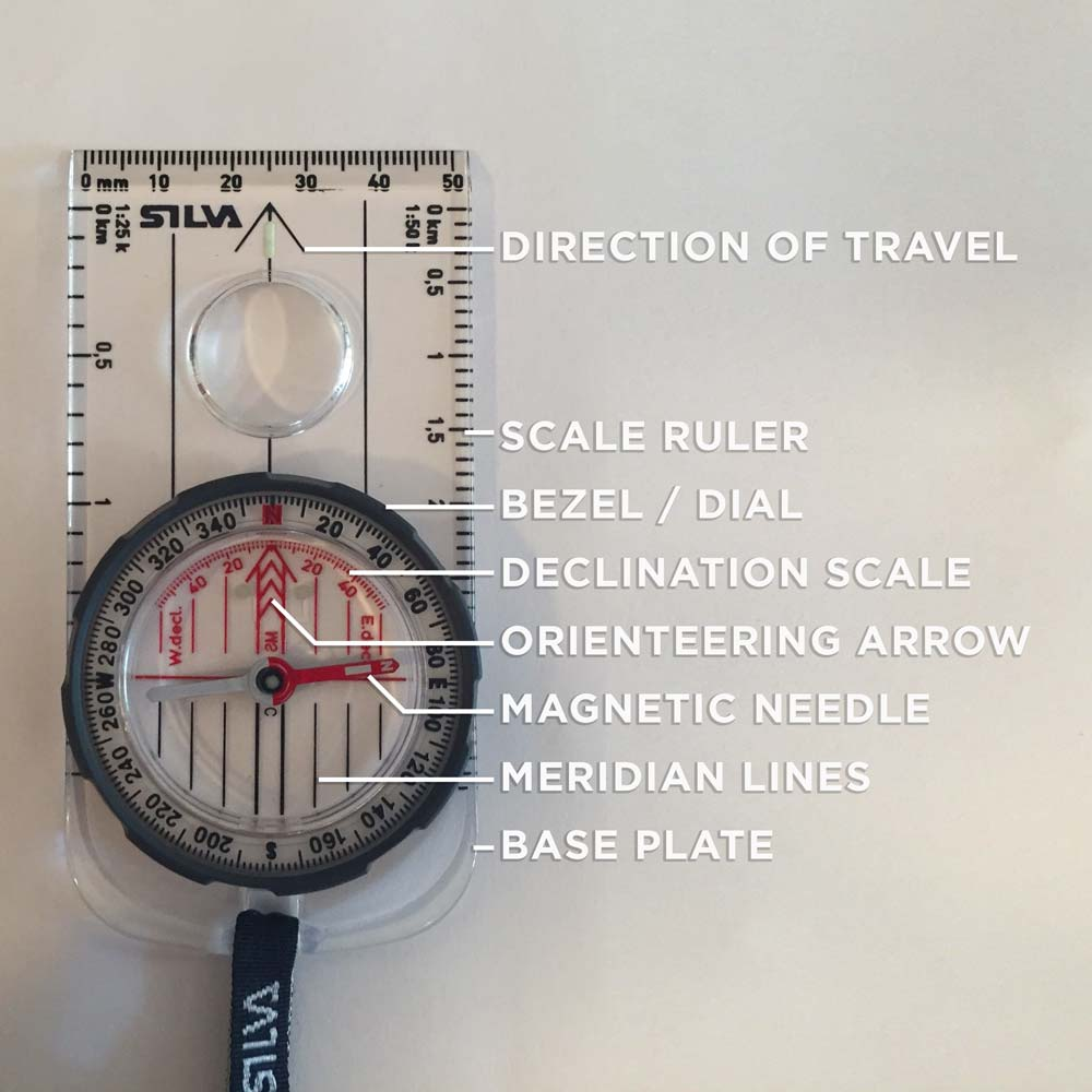 These are the essential features of a  baseplate compass .   Look for these when purchasing a compass. Also consider purchasing a model with an adjustable declination scale. (Click to enlarge)