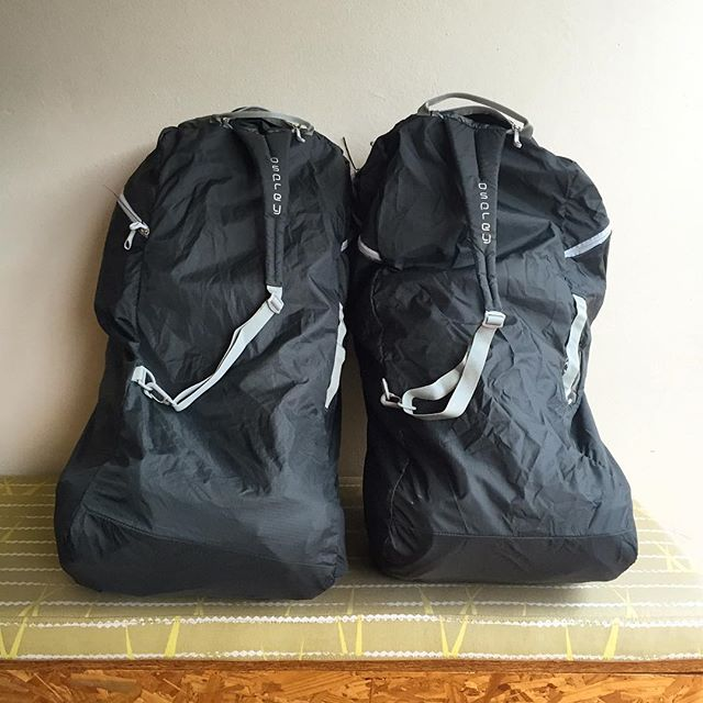 Two #osprey packs in their osprey #airporter travel bags ready to hit the road. One step closer to the Otter Trail... #travel #backpack #hike #getoutside #trail #Outdoor #Adventure