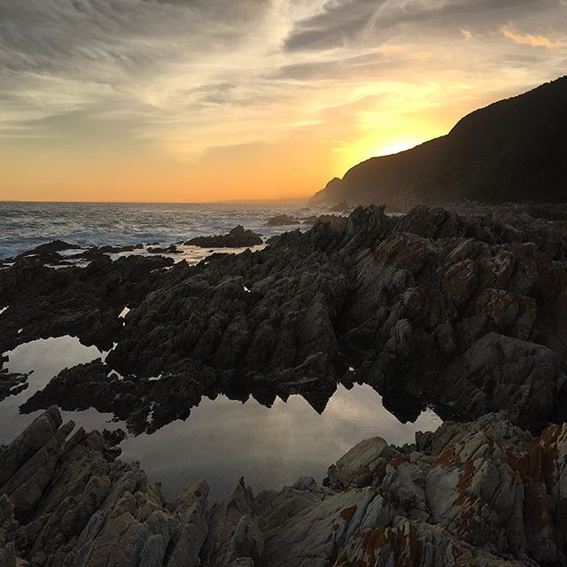 #Sunset after the first day. On the #ottettrail you're double spoilt: mountains in the day and beach-side accommodation at night! #sofar #otter #tsitsikamma #hike #hiking #travel #southafrica #thisissouthafrica