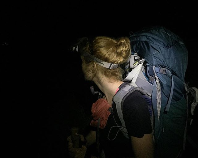 An early start on day 4. We had to do 4 hours of night hiking to make our river crossing at low tide – 8am in the morning! #adventure #sofar #hike #hiking #nighthike #night #otter #ottertrail #osprey #blackdiamond #headlamp