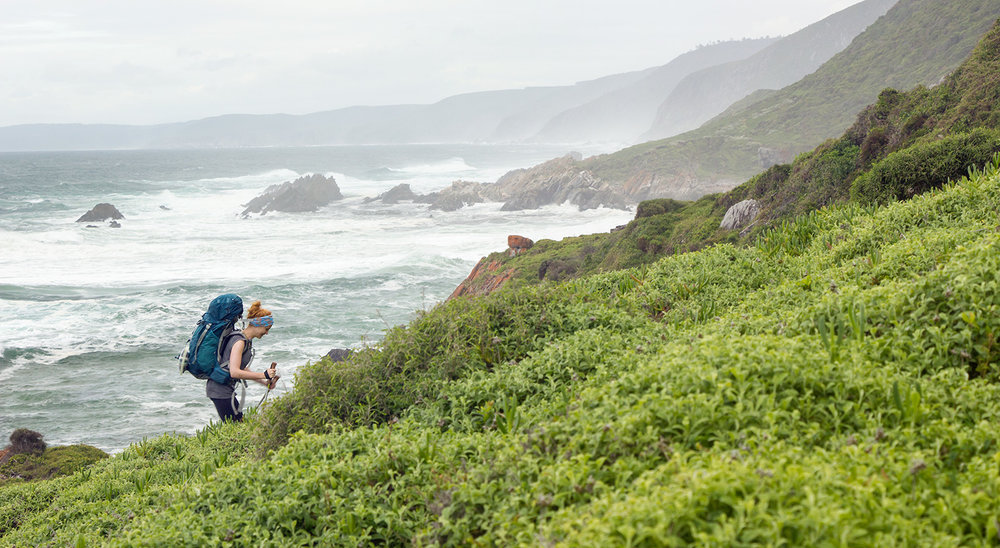 Two of the treats of The Otter Trail – Fragrant fynbos and the sound of the ocean.  Click image to expand