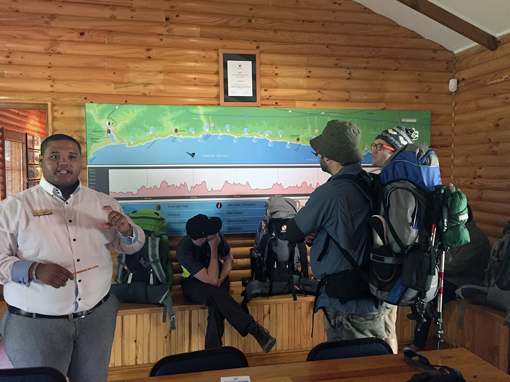 The Otter Room. SANParks give daily briefings to hikers on what to expect on the hike as well as current weather & ocean conditions.