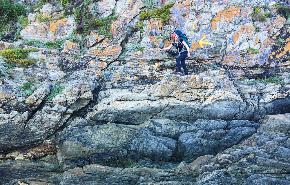 The Otter Trail Day 4 – Follow the arrow. This rope ladder is just after the Bloukrans crossing.  Click to expand.