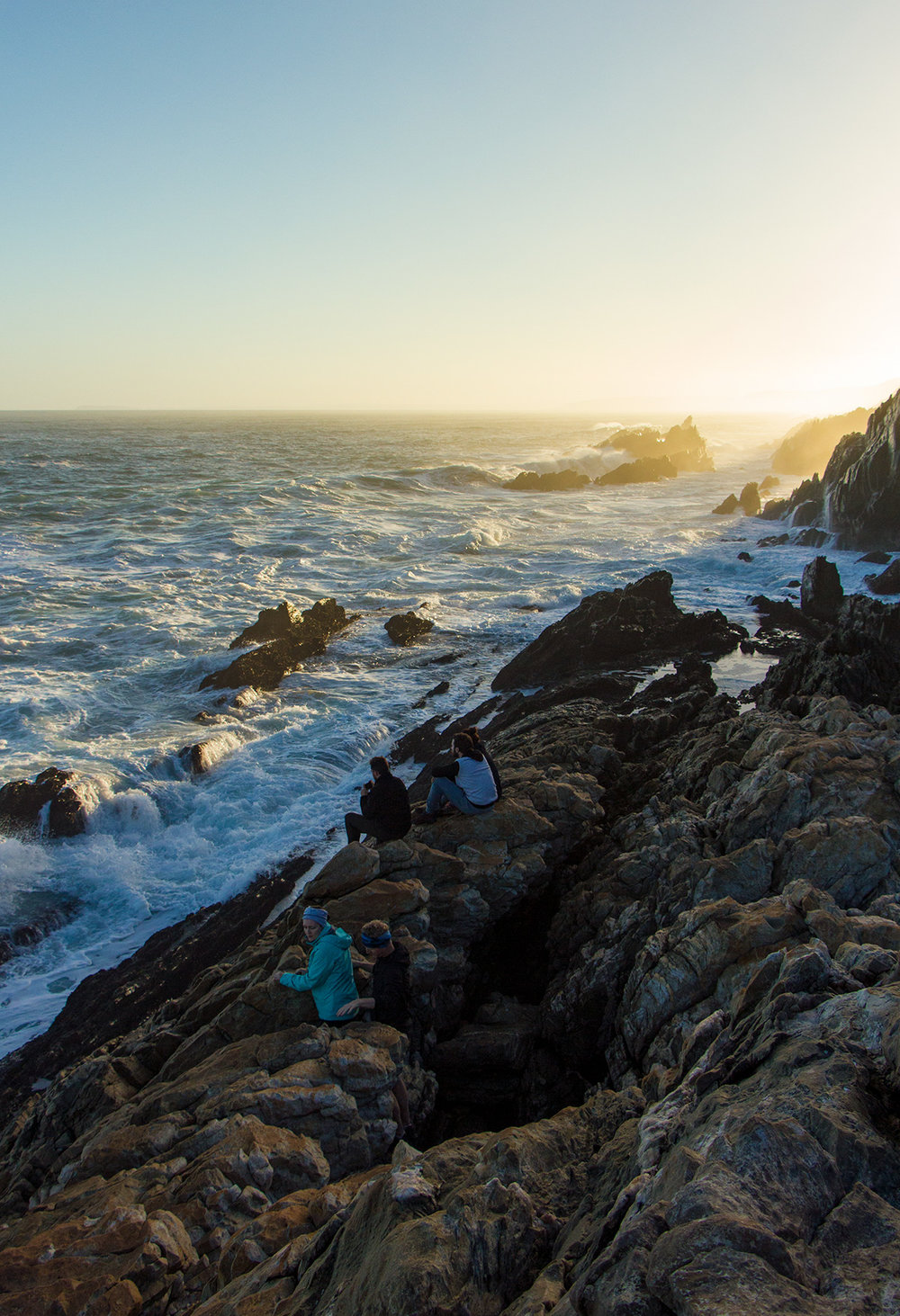 We spent hours on the rock outcrops in front of Oakhurst Hut, at the end of day three, just watching the waves break and the sky change colours.  Click image to expand.