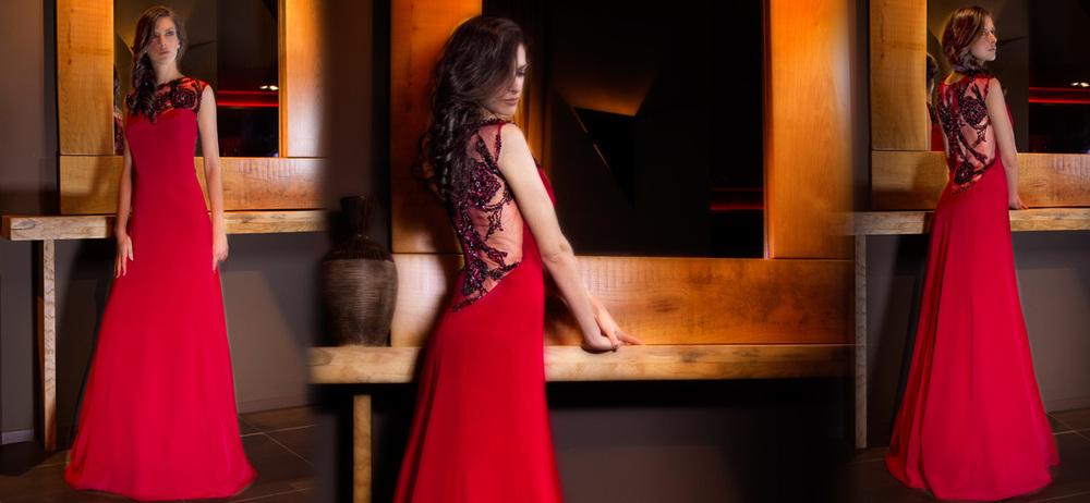 κόκκινο βραδινό φόρεμα Alkmini