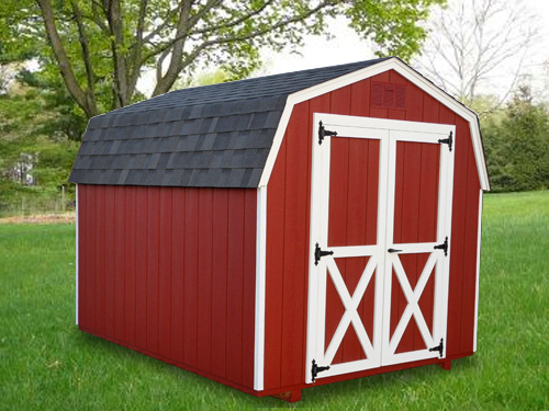 8'x10' Mini Barn with Red Duratemp Siding / White Trim / Black Shingles.