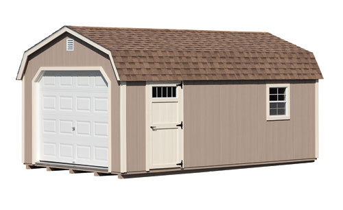 12'x20' Dutch Barn with Buckskin Duratemp Siding / NMavajo White Trim / Cedar Shingles. Options Shown: 9'x7' Garage Door / 4 Light Window in Door
