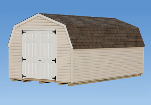 10'x18' Mini Barn with Almond Vinyl Siding / White Trim / Slate Shingles.