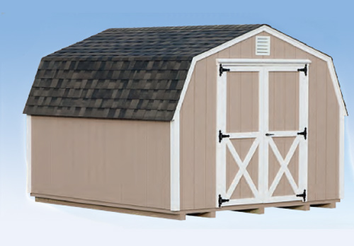 10'x12' Mini Barn with Buckskin Duratemp Siding / White Trim / Weathered Shingles.