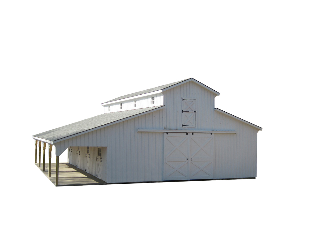 36x48 Monitor Horse Barn with 10' Lean-To