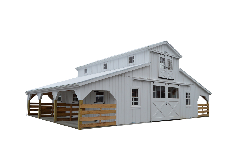 32x36 Monitor Horse Barn with (2) 8' Lean-Tos