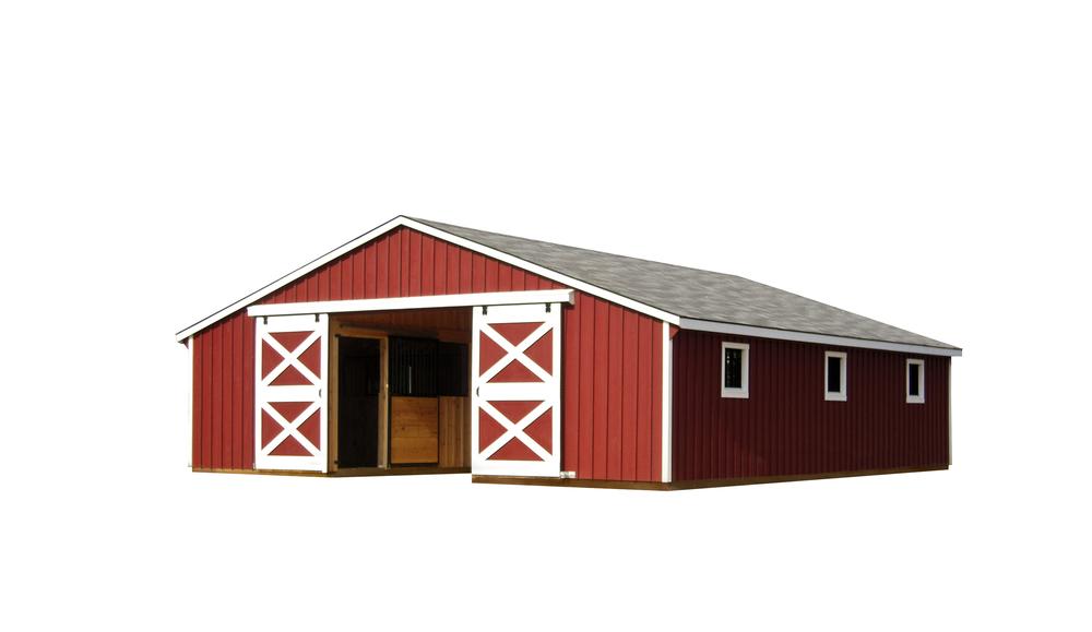30x36 Low Profile Economy Horse Barn