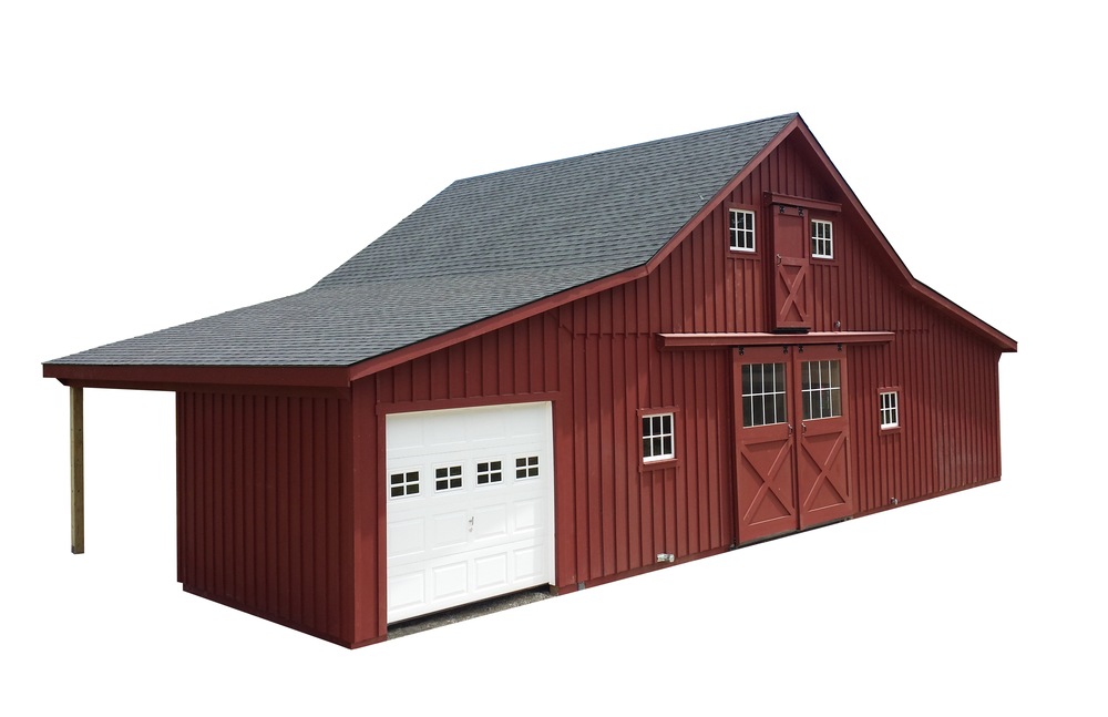 30x24 High Country Horse Barn with (2) 10' Lean-Tos