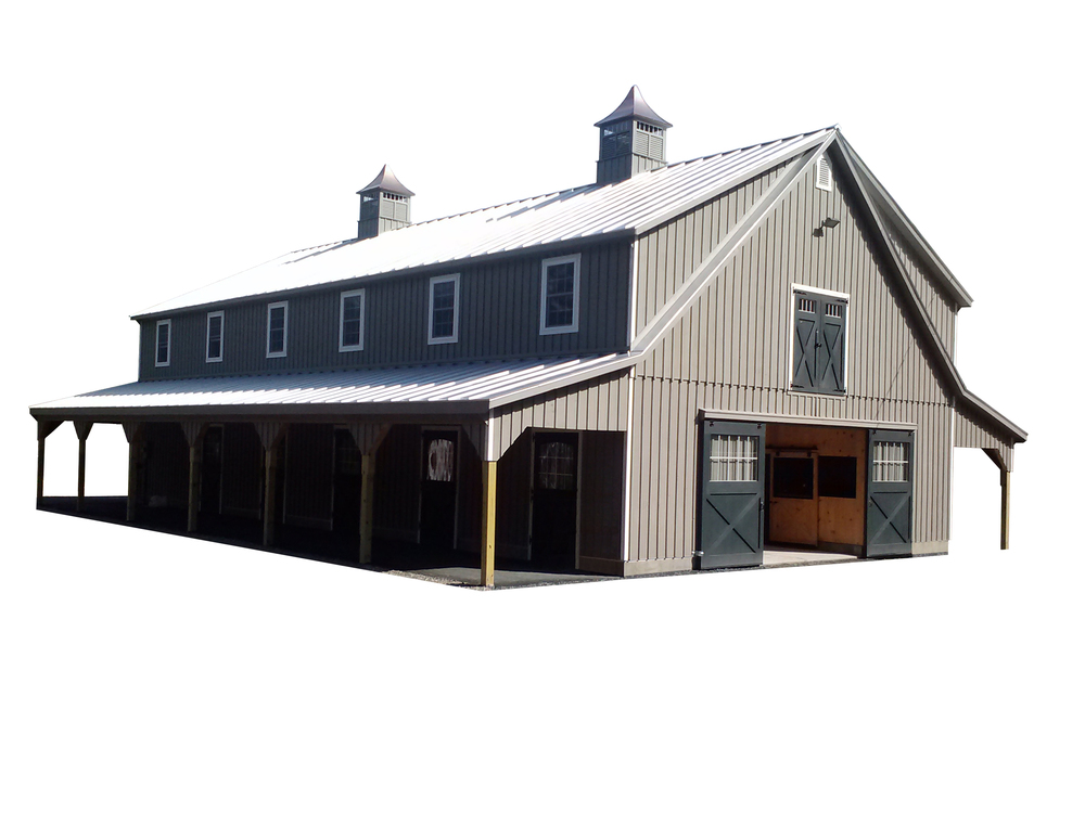 36x72 High Country Horse Barn with (2) 10' Lean-Tos