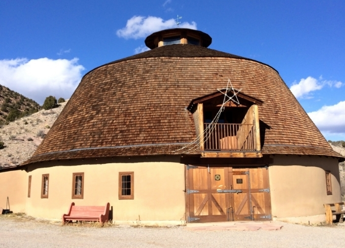 Adobe Round Barn at Ojo Caliente Mineral Springs, New Mexico. 2014.
