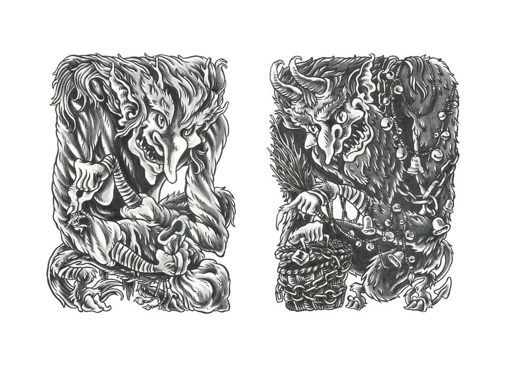 """""""Grýla"""" [left] & """"Krampus"""" [right]"""