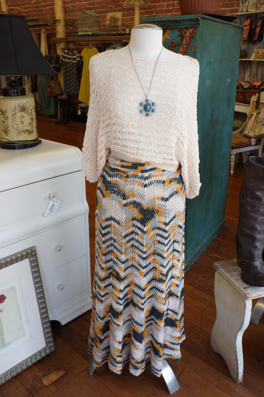 Nobel Ribbon crop sweater $23,  Long knit skirt  $23