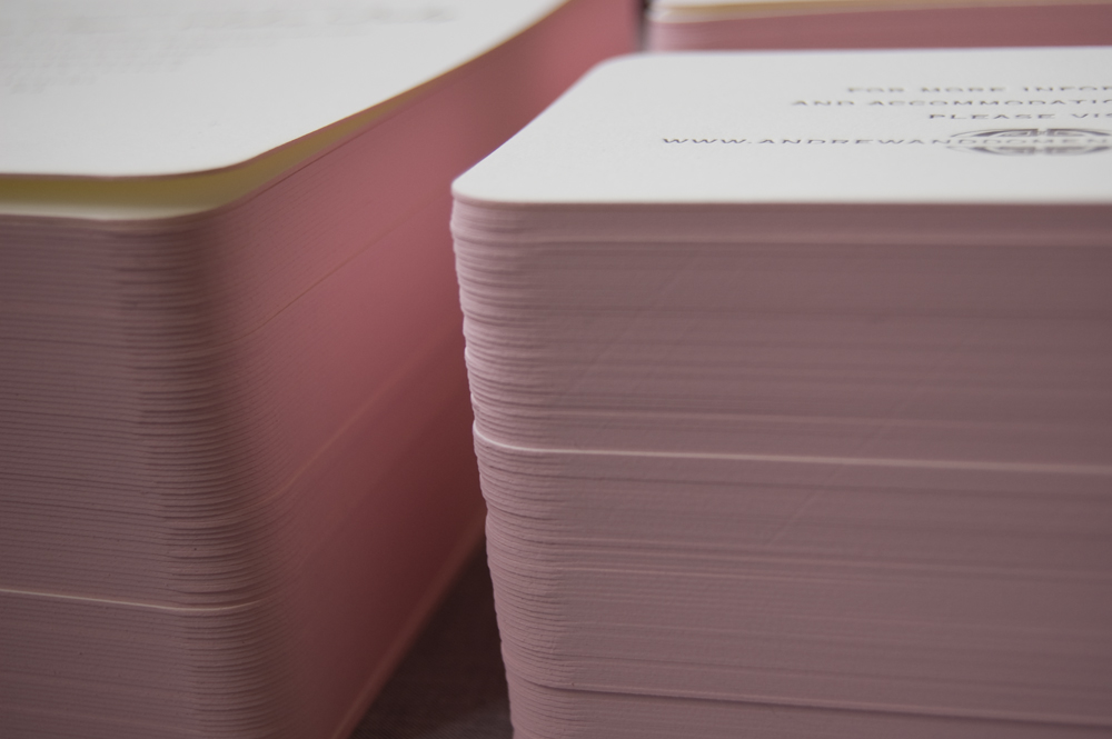 Invitation set with pink painted edges