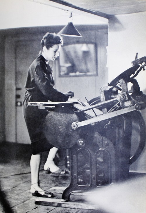 Anaïs Nin operating her handpress in Macdougal Street studio