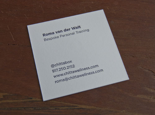 Square format business cards sesame letterpress design when she came in to meet with us and discuss what kind of card stock she wanted she saw a sample of a square card and immediately fell for it colourmoves