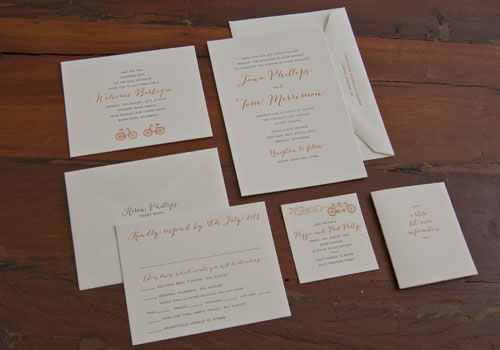 Bicycle Wedding Invitation Suite Sesame Letterpress Design