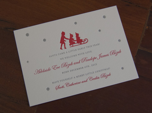 Holiday Birth Announcement Sesame Letterpress Design – New Years Birth Announcements