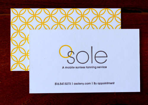 Sunny business cards for a sunny business sesame letterpress design we just finished printing gorgeous business cards for a mobile sunless tanning service the designer created a pretty sunshine yellow pattern for the back colourmoves