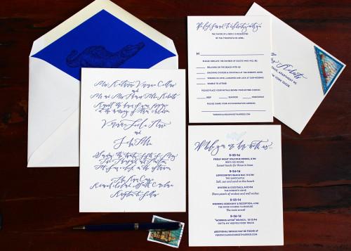 alligator-crocodile-florida-blue-script-calligraphy-letterpress-wedding-invitation
