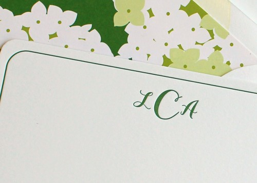 green-floral-lined-envelope-letterpress-monogram-notecard