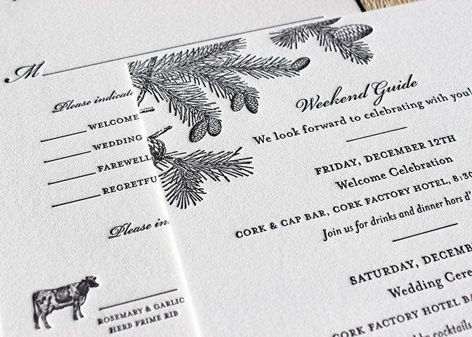 gray-pinecones-forest-rustic-winter-lancaster-wedding-itinerary-rsvp-sesame-letterpress