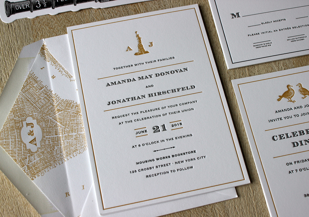 Vintage NYC Letterpress Wedding Invitations Sesame Letterpress