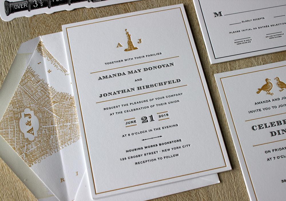 Captivating Vintage NYC Letterpress Wedding Invitations
