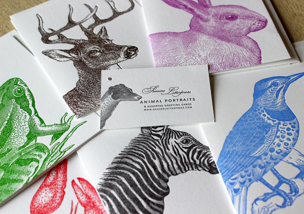 Animal-Portraits-letterpress-card-set-deer-zebra-rabbit