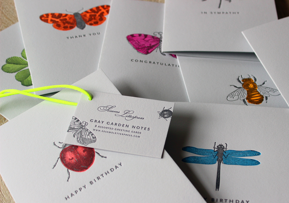 Gray-Gardens-letterpress-card-neon-bugs-butterfly-ladybug-bee