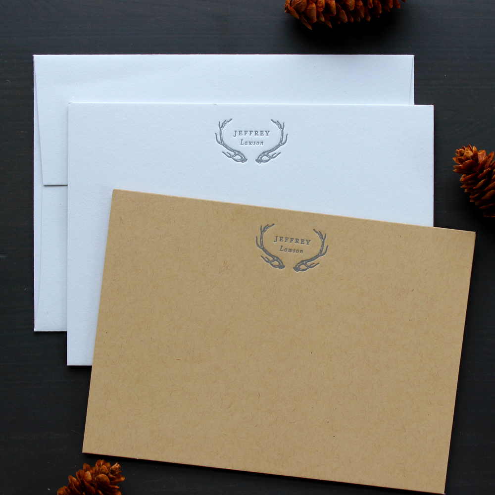 Letterpress Antler Stationery on Kraft