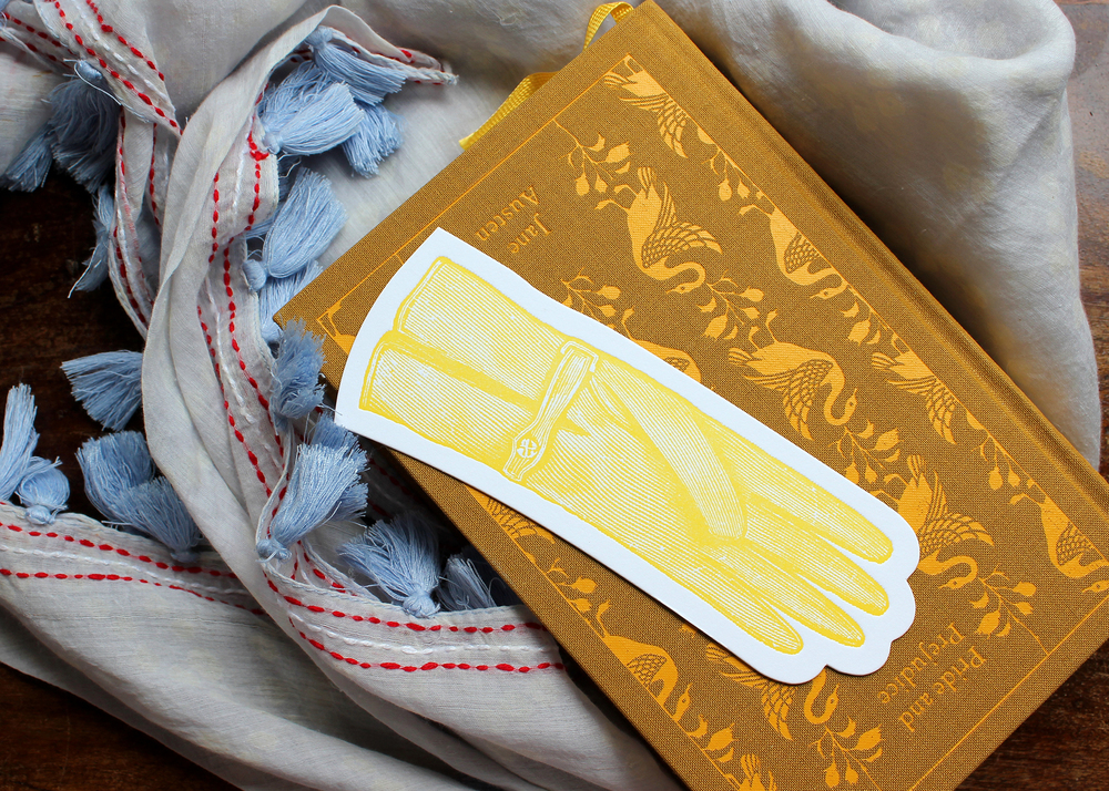 yellow-glove-letterpress-bookmark